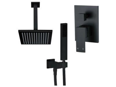 Meir matte black wall mixer shower set square - set 5