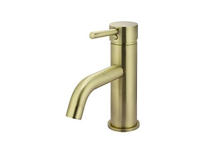 Meir tiger bronze gold basin mixer round with curved spout