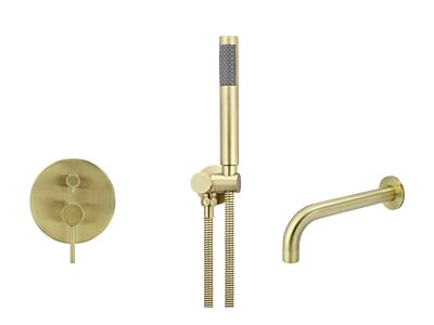 Meir tiger bronze gold wall mixer bath set round - set 2 (large rosette)