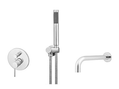Meir polished-chrome wall mixer bath set round - set 2 (large rosette)