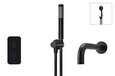 Meir matte black built-in thermostatic bath set - set 4