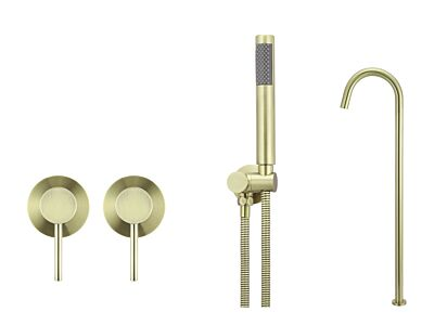 Meir tiger bronze gold wall mixer bath set round - set 6