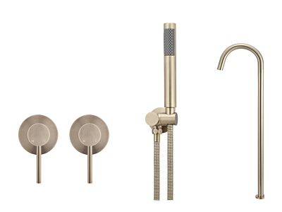 Meir rose-gold wall mixer bath set round - set 6