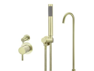 Meir tiger bronze gold wall mixer bath set round - set 8 (small rosette)