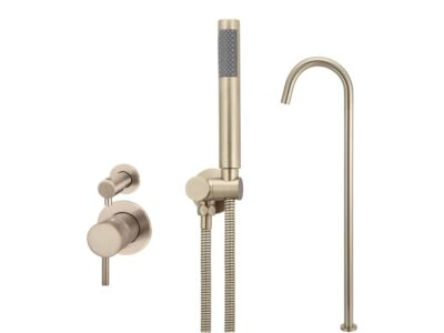 Meir rose-gold wall mixer bath set round - set 8 (small rosette)