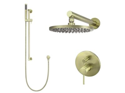 Meir tiger bronze gold wall mixer shower set round - set 2 (large rosette)