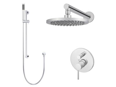 Meir polished-chrome wall mixer shower set round - set 2 (large rosette)
