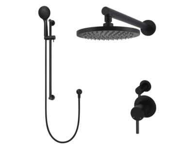 Meir matte black wall mixer shower set round - set 3 (small rosette)