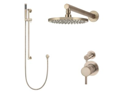 Meir rose-gold wall mixer shower set round - set 3 (small rosette)