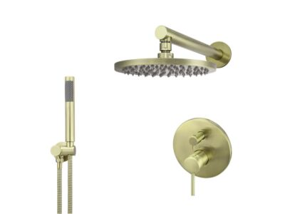 Meir tiger bronze gold wall mixer shower set round - set 5 (large rosette)