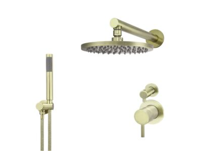 Meir tiger bronze gold wall mixer shower set round - set 6 (small rosette)