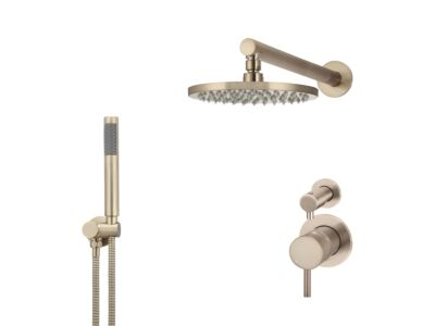 Meir rose-gold wall mixer shower set round - set 6 (small rosette)