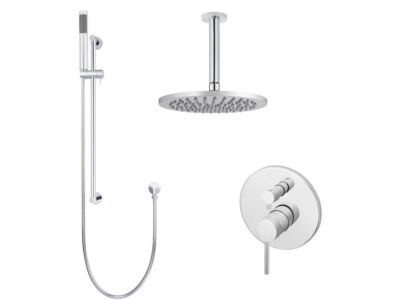 Meir polished-chrome wall mixer shower set round - set 9 (large rosette)