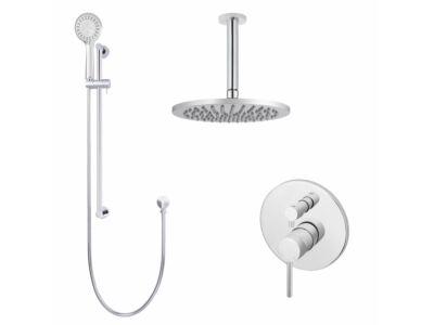 Meir polished-chrome wall mixer shower set round - set 9 (large rosette)