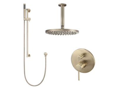 Meir rose-gold wall mixer shower set round - set 9 (large rosette)