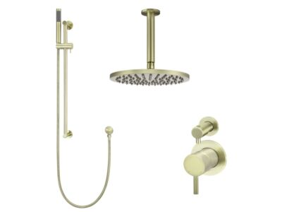 Meir tiger bronze gold wall mixer shower set round - set 10 (small rosette)