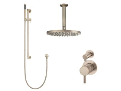 Meir rose-gold wall mixer shower set round - set 10 (small rosette)