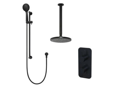 Meir matte black built-in thermostatic shower set round - set 11