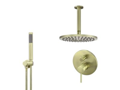 Meir tiger bronze gold wall mixer shower set round - set 12 (large rosette)
