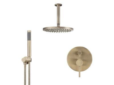 Meir rose-gold wall mixer shower set round - set 12 (large rosette)