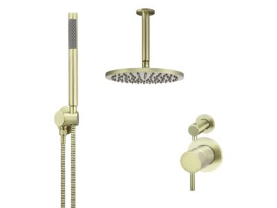 Meir tiger bronze gold wall mixer shower set round - set 13 (small rosette)