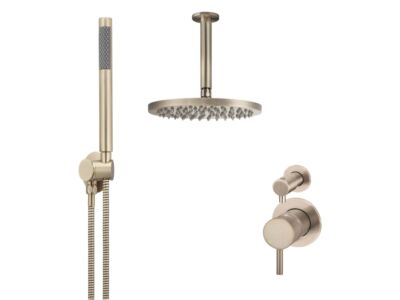 Meir rose-gold wall mixer shower set round - set 13 (small rosette)