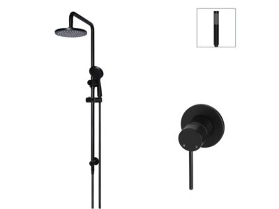Meir matte black wall mixer shower set round - set 15