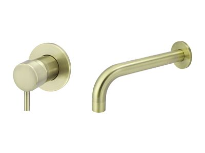 Meir tiger bronze gold wall mixer set round - set 2 (spout 21 cm / handle short)
