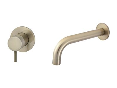 Meir rose-gold wall mixer set round - set 2 (spout 21 cm / handle short)