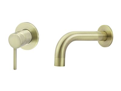 Meir tiger bronze gold wall mixer set round - set 3 (spout 13 cm / handle long)