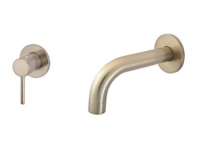 Meir rose-gold wall mixer set round - set 3 (spout 13 cm / handle long)