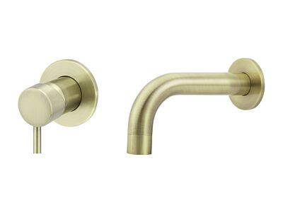 Meir tiger bronze gold wall mixer set round - set 4 (spout 13 cm / handle short)