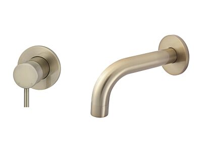 Meir rose-gold wall mixer set round - set 4 (spout 13 cm / handle short)