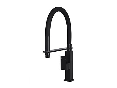 Meir matte black kitchen mixer round with flexible spout