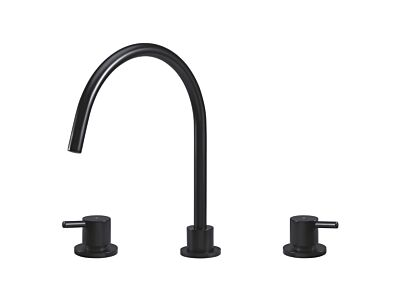 Meir matte black kitchen mixer round 3-hole