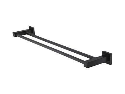 Meir matte black towel rail square double 60 cm