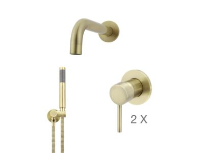 Meir tiger bronze gold wall mixer bath set round - set 1