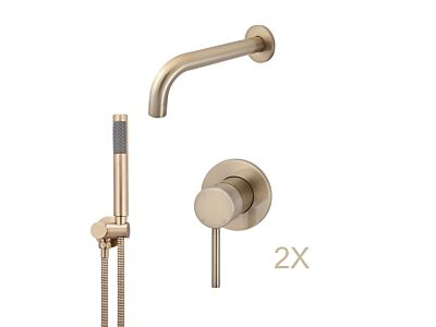 Meir rose-gold wall mixer bath set round - set 1